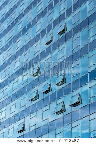 Architectural Detail Of A Modern Glass Skyscraper Building