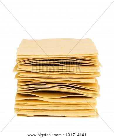 Stack of sheets for lasagna isolated on white