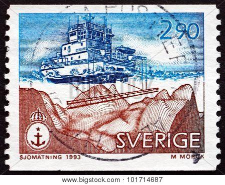 Postage Stamp Sweden 1993 Modern Echo Sounding