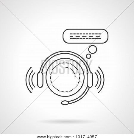 Online support sign line vector icon