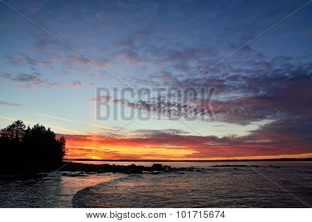 Sunset On The White Sea. Karelia, Russia