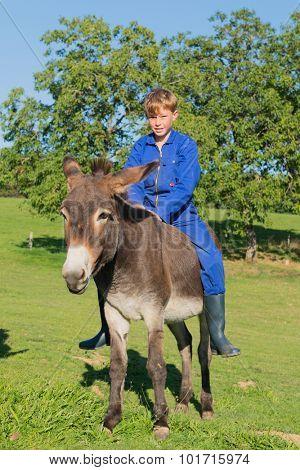 Farm boy sitting on his donkey