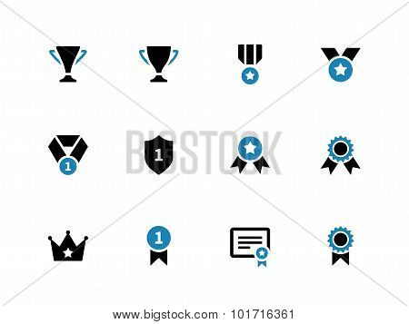 Trophy duotone icons on white background.