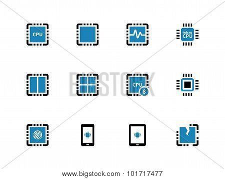 Processor unit duotone icons on white background.
