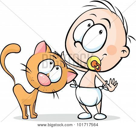 Toddler Standing And Stroking A Cat - Vector Illustration