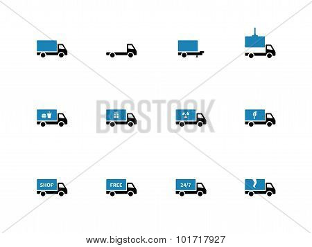 Truck and transportation duotone icons on white background.