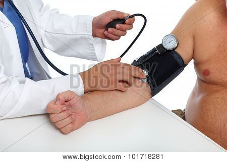Doctor checking old man patient arterial blood pressure. Health care.