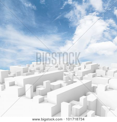 Abstract White Digital 3D Cityscape With Clouds