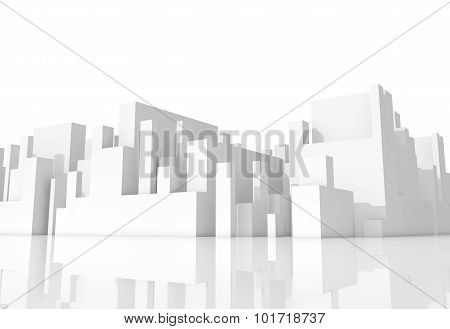 Abstract White Schematic 3D Cityscape On White