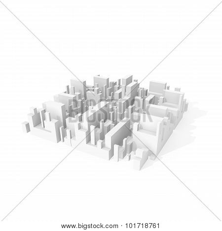 Abstract Schematic 3D City Block Isolated On White