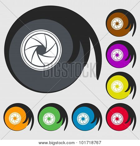 Diaphragm Icon. Aperture Sign. Symbols On Eight Colored Buttons. Vector