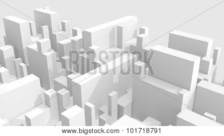 Abstract White Schematic 3D Cityscape Over Gray