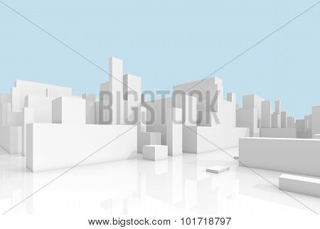 Abstract White 3D Cityscape Over Light Blue