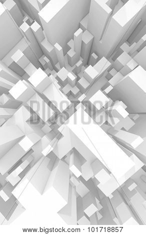 Abstract Schematic White 3D Cityscape, Top View