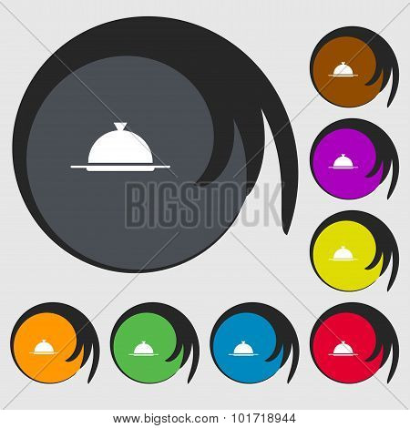 Food Platter Serving Sign Icon. Table Setting In Restaurant Symbol. Symbols On Eight Colored Buttons