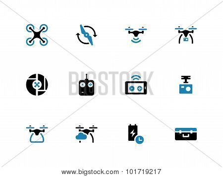 Drone with camera duotone icons on white background.