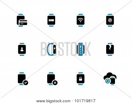 User credit card information in smart watch icons on white background.