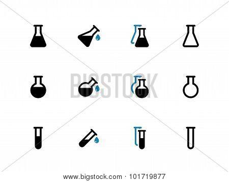 Laboratory glass duotone icons on white background.