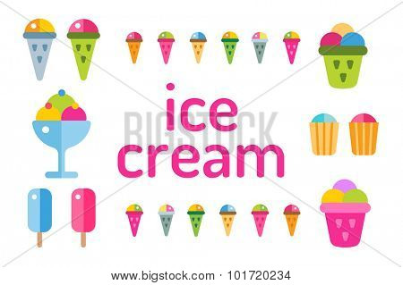 Ice cream vector icons set. Icecream isolated vectors. Candy ice cream. Tasty frozen, cartoon vector, set. Ping, red, blue, green, red ice cream. Ice cream scoops icons. Ice cream shop