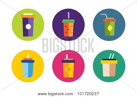 Flat soup vector icons collection. Soup box, soup bowl, soup icon, soup logo, soup set, food and drinks. Soup for vegans. healthy food, nature food, green eco products, asian soup box. Take out