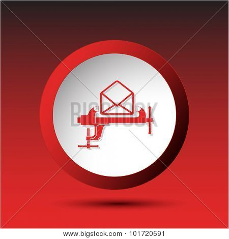 open mail with clamp. Plastic button. Vector illustration.