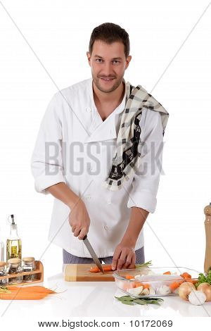 Young Attractive Chef Caucasian Male, Tenderloin Piece Preparati