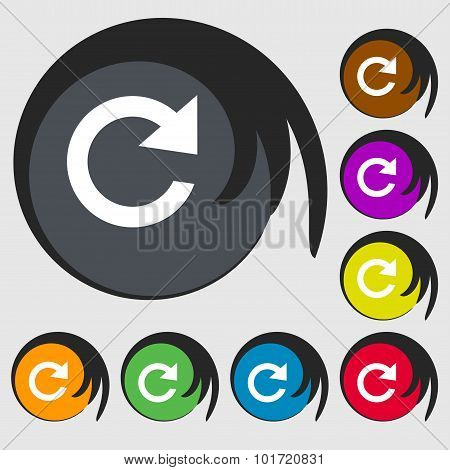 Update Sign Icon. Full Rotation Arrow Symbol. Symbols On Eight Colored Buttons. Vector