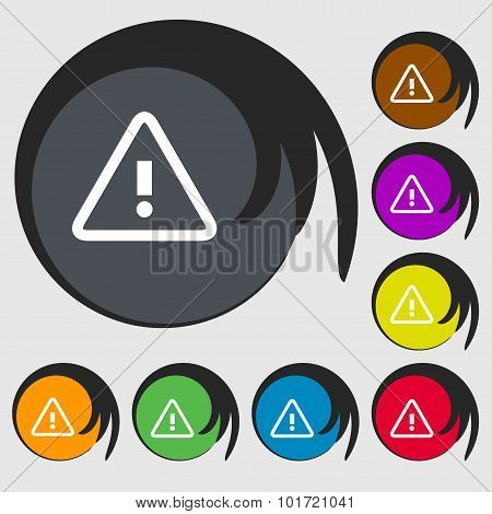 Attention Caution Sign Icon. Exclamation Mark. Hazard Warning Symbol. Symbols On Eight Colored Butto