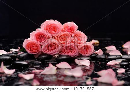 Set of pink bouquet rose with therapy stones