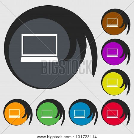 Laptop Sign Icon. Notebook Pc Symbol. Symbols On Eight Colored Buttons. Vector
