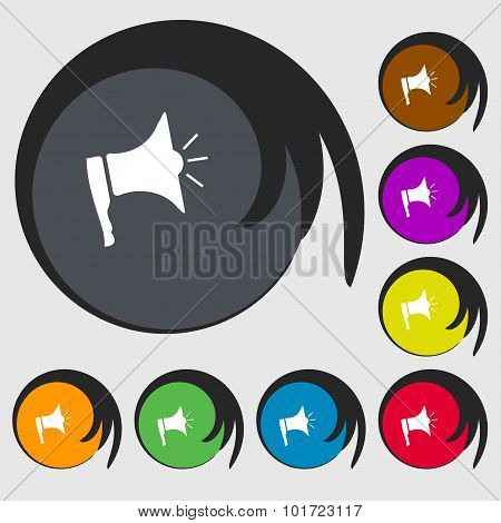 Megaphone Soon Icon. Loudspeaker Symbol. Symbols On Eight Colored Buttons. Vector