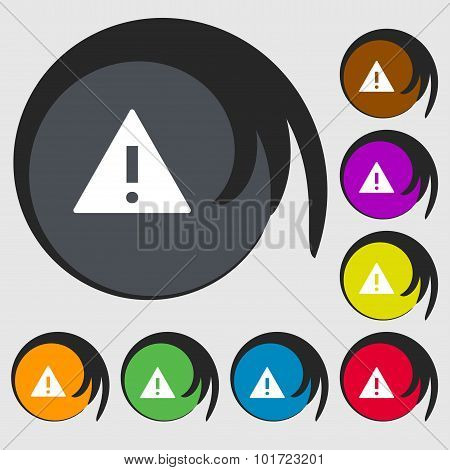 Attention Sign Icon. Exclamation Mark. Hazard Warning Symbol. Symbols On Eight Colored Buttons. Vect