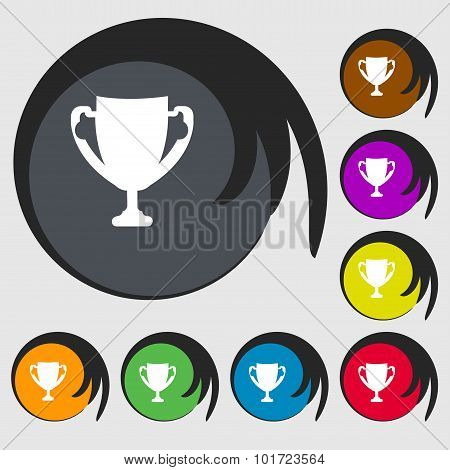 Winner Cup Sign Icon. Awarding Of Winners Symbol. Trophy. Symbols On Eight Colored Buttons. Vector