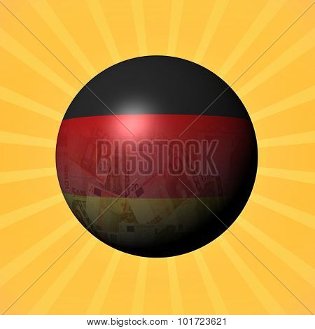 Germany flag euros sphere on sunburst illustration