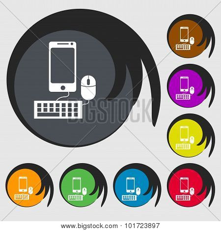 Smartphone Widescreen Monitor, Keyboard, Mouse Sign Icon. Symbols On Eight Colored Buttons. Vector