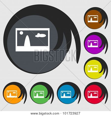 File Jpg Sign Icon. Download Image File Symbol. Symbols On Eight Colored Buttons. Vector