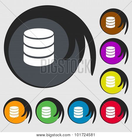 Hard Disk And Database Sign Icon. Flash Drive Stick Symbol. Symbols On Eight Colored Buttons. Vector