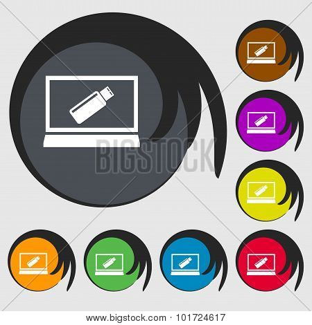 Usb Flash Drive And Monitor Sign Icon. Video Game Symbol. Symbols On Eight Colored Buttons. Vector