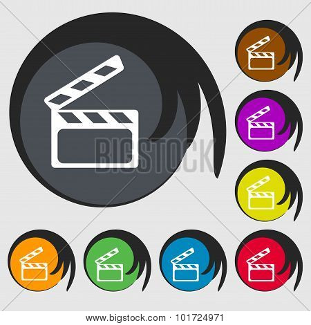 Cinema Clapper  Sign Icon. Video Camera Symbol. Symbols On Eight Colored Buttons. Vector