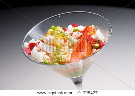 Rice with lobster served in a crystal goblet.