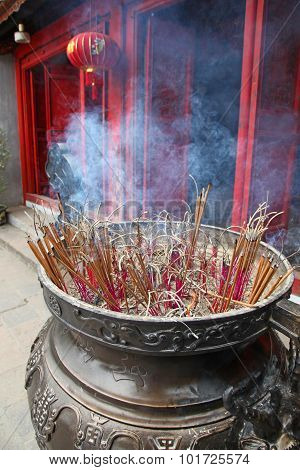 Incense Sticks Temple - Hanoi Vietnam