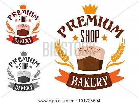 Premium bakery shop symbol with cake