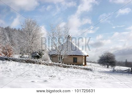 Fabulous Wooden House In The Snow Near A Forest