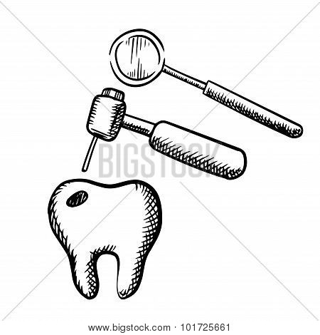 Tooth with decay, dental drill and mirror
