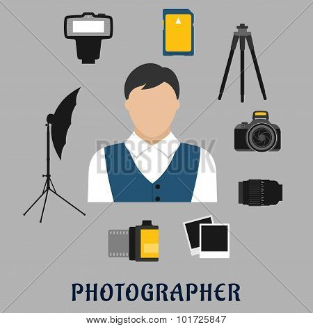 Photographer and devices flat icons