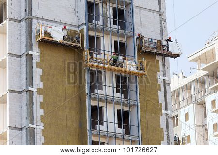 Odessa - September 8: Facade Thermal Insulation Works With Stopping And Fillers During The Construct