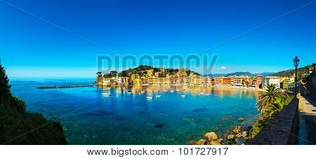 Sestri Levante, Silence Bay Sea And Beach Panorama. Liguria, Italy