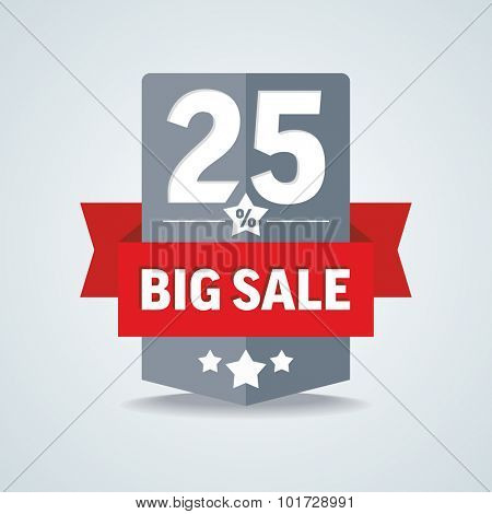 Big sale 25 percent badge with red ribbon. Vector illustration.