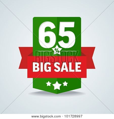 Big sale 65 percent badge with red ribbon. Vector illustration.