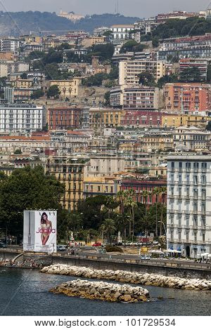 Riviera Di Chiaia And The Posillipo Hill In Naples, Italy